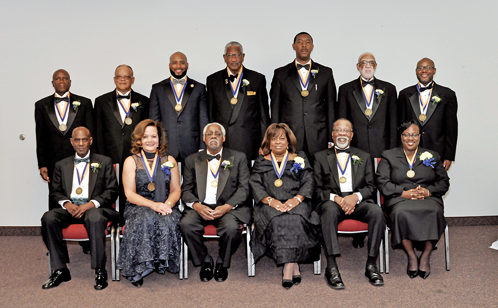 James B. Dudley High School Hall of Fame/Hall of Distinction Inductees for 2015.  Front Row (L-R): Terry Keith, Dr. Denise Greene, David Dansby, Ernestine Bennett, Arthur Hood and Pam Doggett. Back Row (L-R): David Moore, John Troxler, Rev. Charles Goodman, Rev. Edward Best, Clarence Grier, Rufus Williams and Amos Quick. Photo courtesy Norris Greenlee