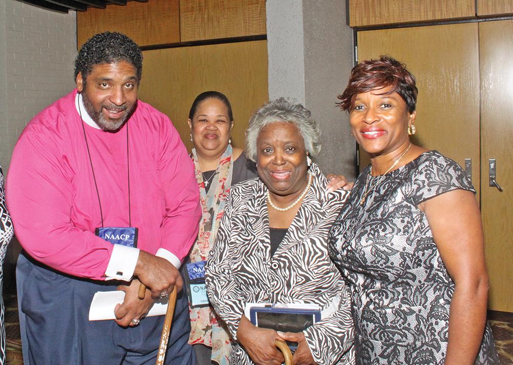 Rev. Dr. William J. Barber, N.C. NAACP President; Rev. Mazie Ferguson of Greensboro; & Rev. Michele Laws., N.C. NAACP Executive Director. Photo by  Charles Edgerton / Carolina Peacemaker