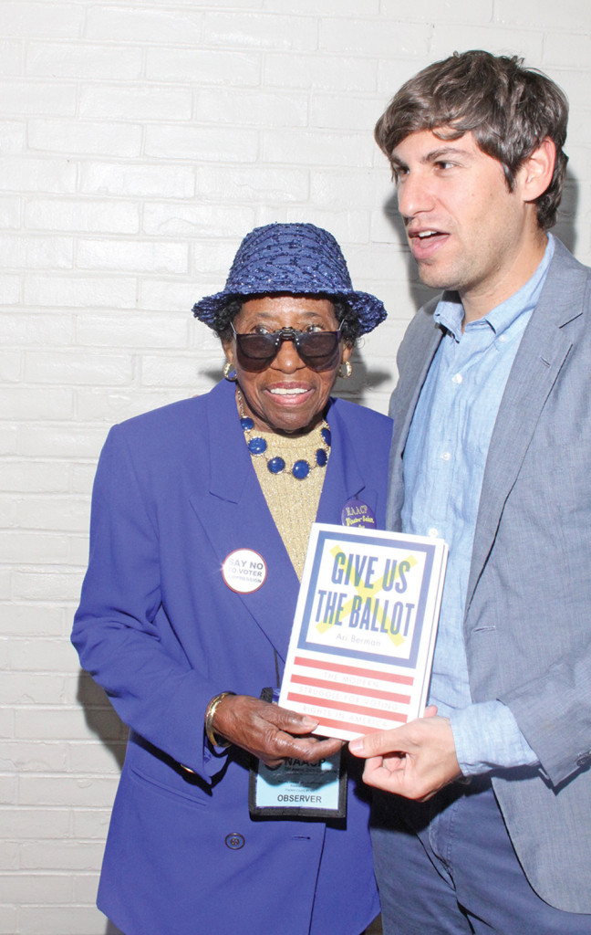 Rosanell Eaton & Ari Berman.  An interview with Eaton is featured in Burman's book. Photo by Charles Edgerton / Carolina Peacemaker