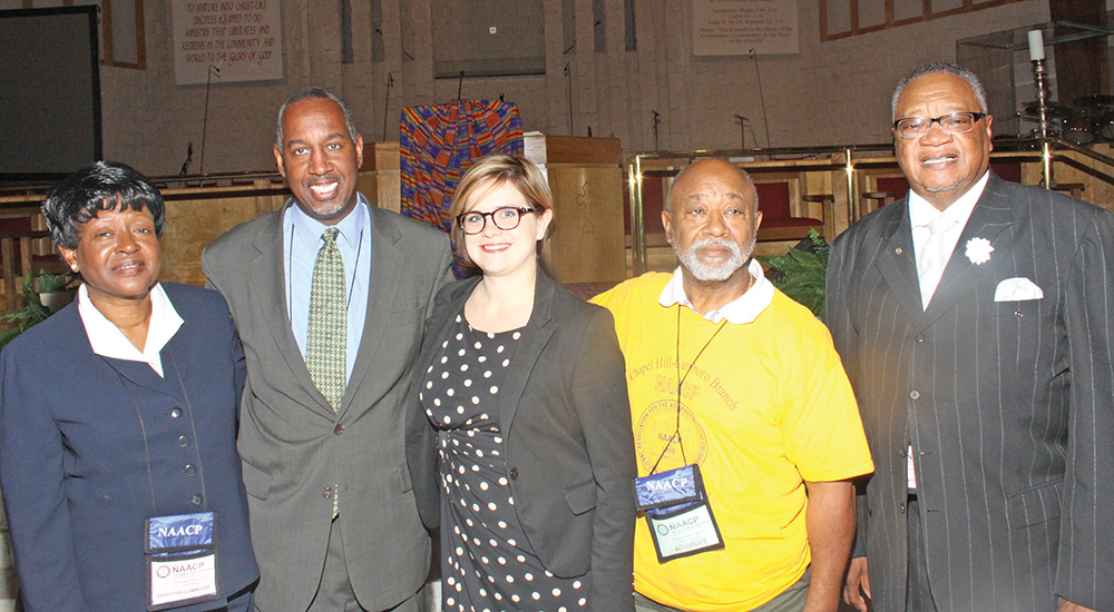 Members of the NAACP Religious Affairs Committee: Joyce Johnson, Rev. Jimmy Hawkins, Rev. Robin Tanner, Min. Robert Campbell & Rev. Cardes Brown. Photo by  Charles Edgerton / Carolina Peacemaker