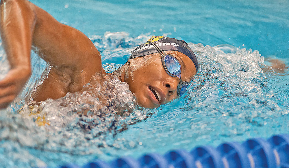 Dominique Crable, an N.C. A&TSU senior, swims freestyle. Photo by Kevin Dorsey/ Carolina Peacemaker