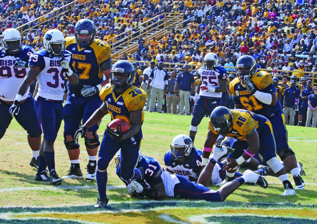 Tarik Cohen, a 5-foot-6 junior running back ran for 137 yards on 17 carries and three touchdowns in the Aggies 65-14 blowout of Howard University.
