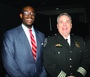 Justin Outling, Greensboro City Councilman (D-3) & Greensboro Police Chief Wayne Scott. Photo by Charles Edgerton/Carolina Peacemaker