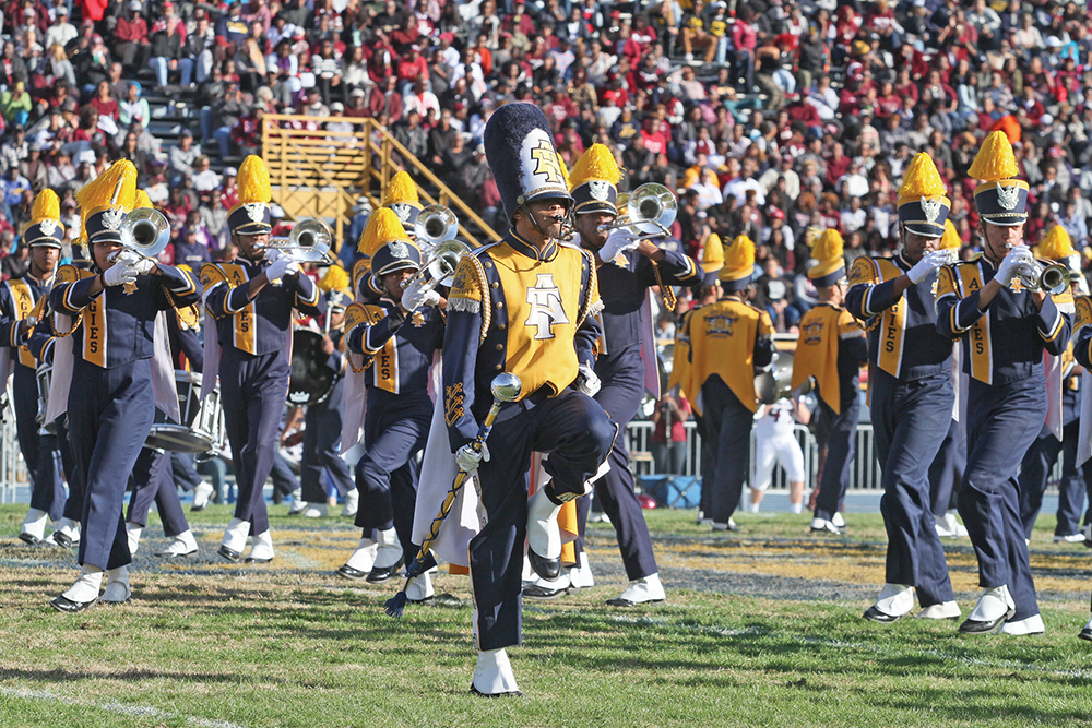 The N.C. A&T State University Blue & Gold Marching Machine will travel to Atlanta to perform during the halftime show of the Celebration Bowl on Dec. 19. Photo by Joe Daniels / Carolina Peacemaker