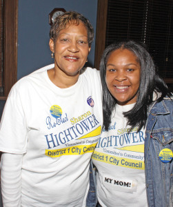 District 1 Council member Sharon Hightower celebrates with her daughter, Sharonda. Photo by Charles Edgerton/Carolina Peacemaker