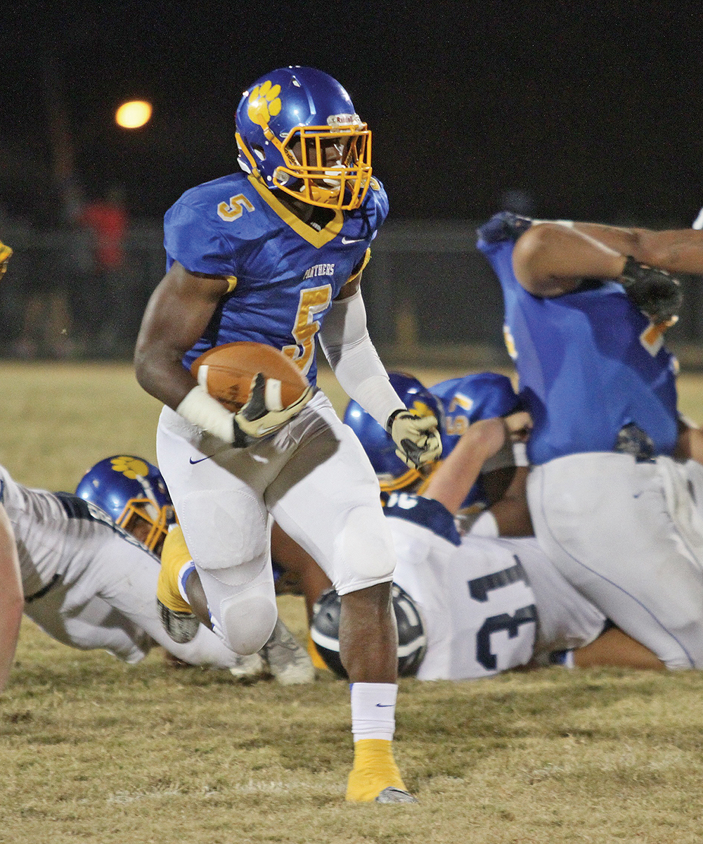 Dudley's Connell Young had 219 yards (127 receiving and 91 rushing) with two touchdowns and a pair of two-point conversions in the first half of Dudley's 54-0 romp over McDowell. Photo by Joe Daniels/ Carolina Peacemaker