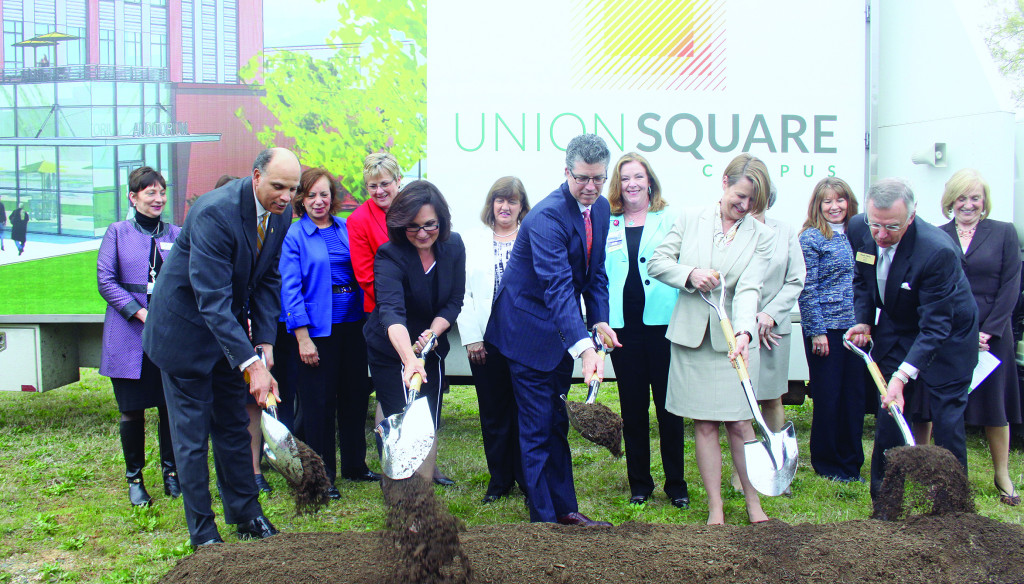 Harold Martin, Chancellor the N.C. A&T State University; Nancy Vaughan, mayor of Greensboro; Terry Aikin of Cone Health; Dana Dunn, Acting Chancellor of UNCG; and Randy Parker, President of GTCC participate in a ground-breaking ceremony for the Union Square Campus held Tuesday, April 7. Photo by Charles Edgerton/Carolina Peacemaker