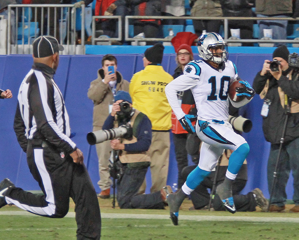 Carolina Panthers' wide receiver Corey Brown scores on an 86-yard reception from quarterback Cam Newton during first quarter play during Sunday's NFC Championship game at Bank of America Stadium in Charlotte. Photo by Joe Daniels/Carolina Peacemaker