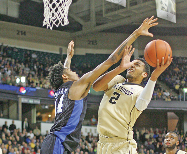 Senior center Devin Thomas paced the Demon Deacons with 21 points, 12 rebounds and three assists in the Deacs' 91-75 loss to Duke on Jan. 6. Photo by Joe Daniels/Carolina Peacemaker
