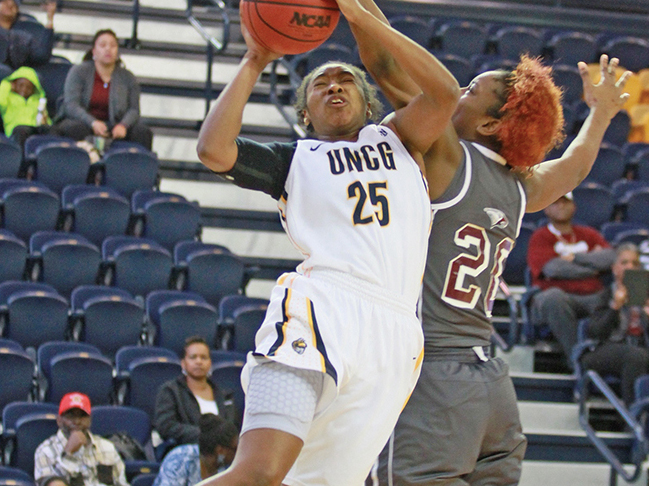 Shanese Harris, a junior guard finished with 18 points, seven rebounds and seven assists in the UNCG Spartans 103-56 victory over NCCU.  Photo by Joe Daniels/Carolina Peacemaker