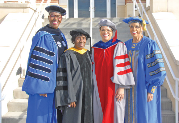Bennett College has had 17 presidents in its history.  From left to right are:  President Rosalind Fuse-Hall, J.D., the current president of Bennett College, and former presidents: Dr. Gloria Randle Scott, Dr. Julianne Malveaux, and Dr. Johnnetta B. Cole.   Photo courtesy of Bennett College