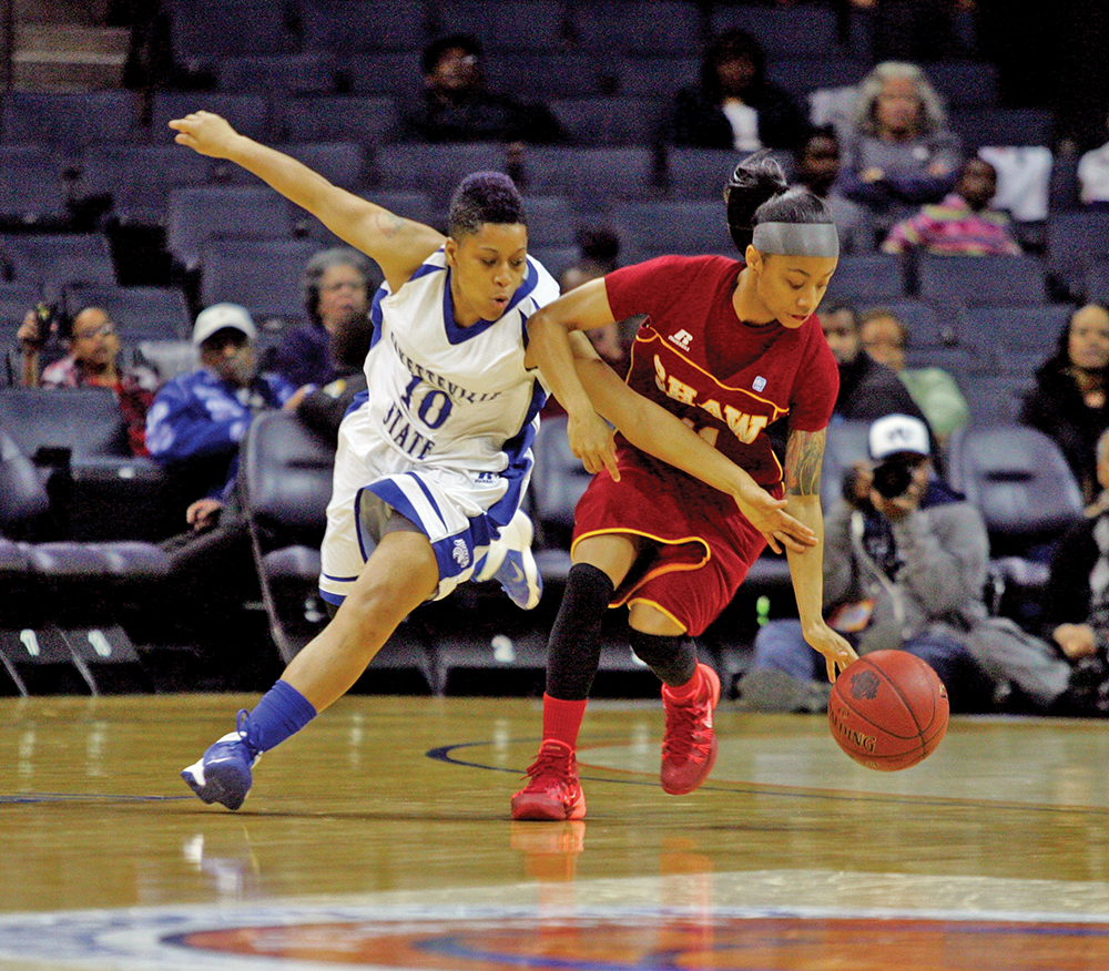 Can senior guard Tabatha Anderson (right) lead the Bears to their fifth consecutive CIAA Tournament championship?  Photo by Joe Daniels