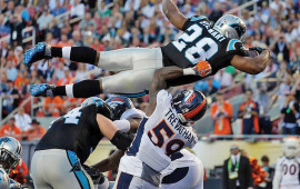 Carolina Panthers' Jonathan Steward scores a touchdown during the second quarter of the NFL Super Bowl 50 against the Denver Broncos Sunday, in Santa Clara, Calif.