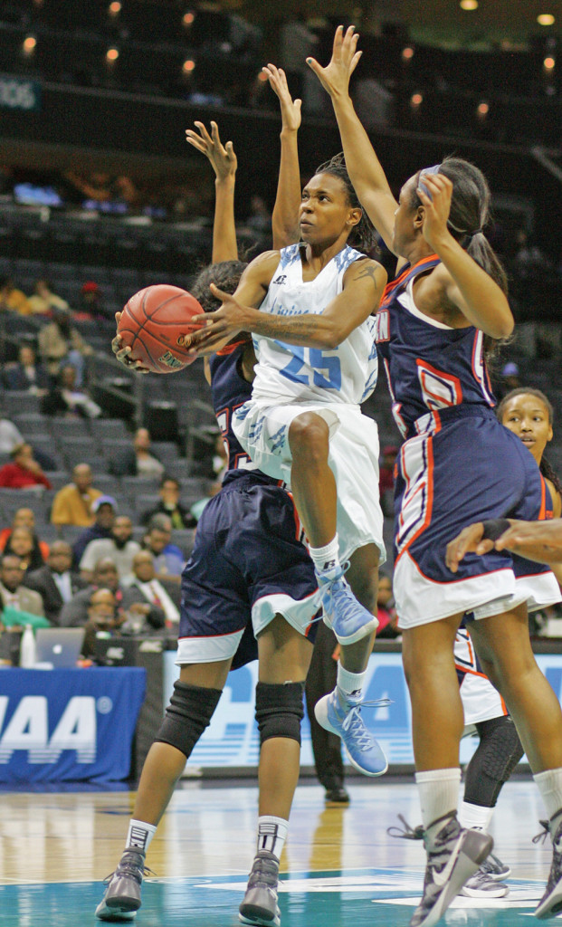 Ariana DeJesus contributed five rebounds and two assists in the Livingstone College Lady Blue Bears' win over Lincoln University. Photo by Joe Daniels/ Carolina Peacemaker