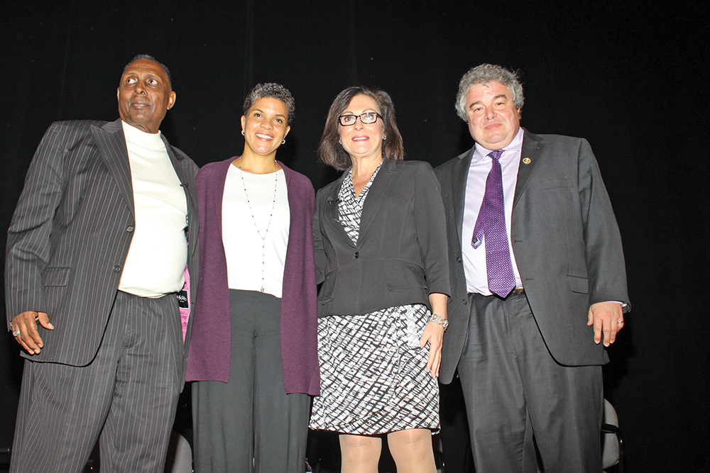 Rev. Nelson Johnson with Beloved Community Center; Michelle Alexander, author; Greensboro Mayor Nancy Vaughan and Dr. Timothy Tyson, senior research scholar at the Duke Center for Documentary Studies. Photo by Charles Edgerton/Carolina Peacemaker