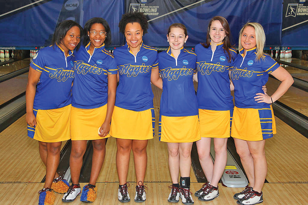 The Aggie women's bowling team finished third in the NCAA Women's Bowling Championships. (L-R) Briana Boze, Jacqueline Ashby, MacKenzie Robinson, Kristin Shinn, Kori Smith and Emily Strombeck. Photo by Larry Levanti