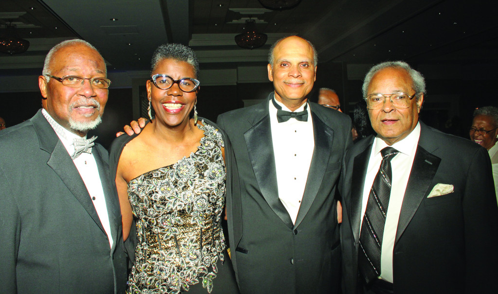 Dr. Jarvis Hall, political science professor at NCCU; Rosaland Fuse-Hall, president of Bennett CoDr. Jarvis Hall, political science professor at NCCU; Rosaland Fuse-Hall, president of Bennett College and Dr. Harold Martin, chancellor of N.C. A&TSU celebrate the 125th anniversary of North Carolina A&T State University.