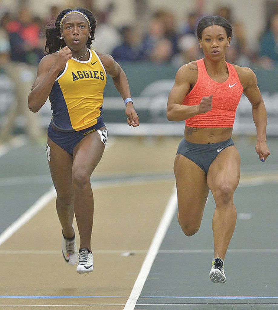 Aggie sophomore (left) India Brown broke her pervious school record of 23.36 seconds in the 200 meters with a time of 23.26 seconds.  Brown secured a fourth–place finish at the Florida Relays.