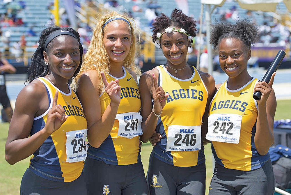 The Lady Aggies' 4x100m relay team just missed breaking the old MEAC mark of 44.93 seconds with a time of 44.96 seconds. Pictured (L-R): India Brown (Soph), Morgan Knight (Soph), Yakiva Lover (Fr) and Kayle White (Fr). Photo courtesy Kevin Dorsey