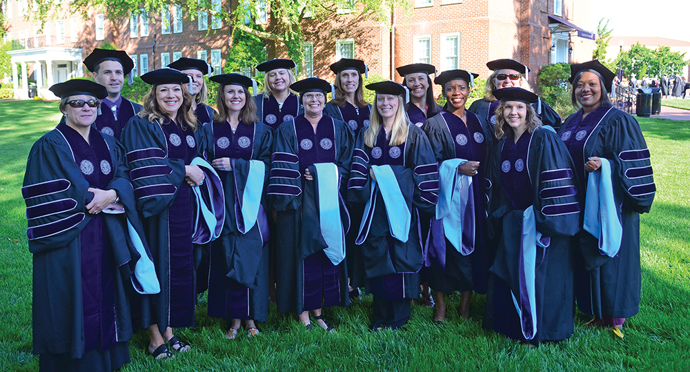 High Point University's first doctoral graduates in Educational Leadership (Ed.D.). Photo courtesy High Point University