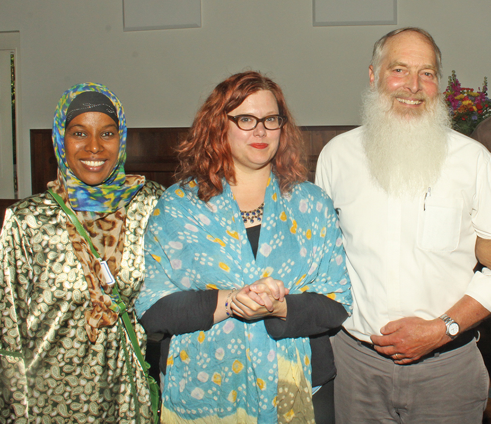 Ghaisha Yahaya-Mohamed, Deonna Kelli Sayed, and Max Carter were some of the participants in Sunday's community discussion on Muslims in America.  Photo by Charles Edgerton/Carolina Peacemaker